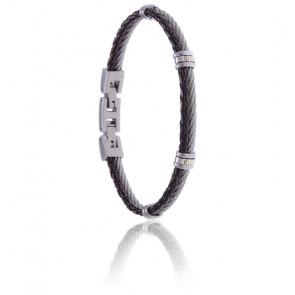 Bracelet acier et cuir tressé italien marron