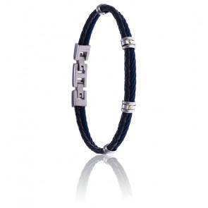 Bracelet acier bleu et cuir tressé italien bleu