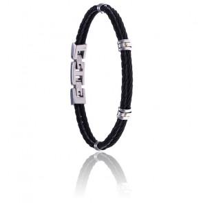 Bracelet acier noir et cuir tressé italien noir