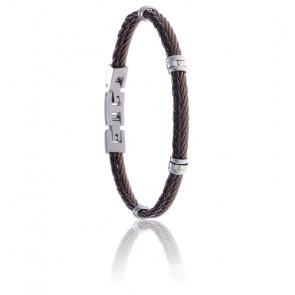 Bracelet acier marron et cuir tressé italien marron