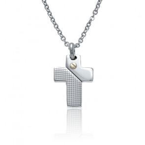Collier croix acier et vis or jaune 18K