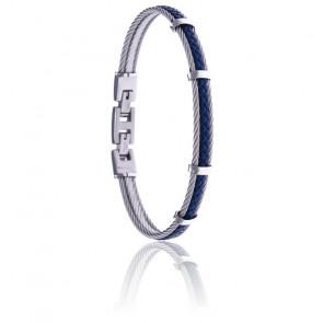 Bracelet 2 câbles acier et cuir tressé italien bleu