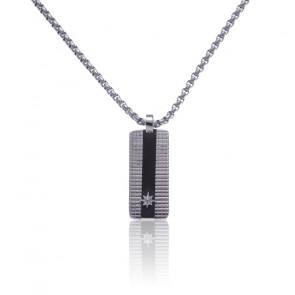 Collier plaque étoile acier gris et noir