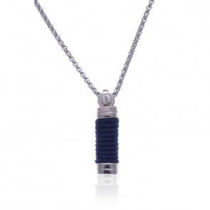 Collier tube acier et corde bleu foncé