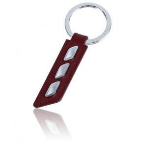 Porte-clés cuir rouge et acier KMU4160123