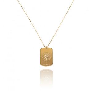 Collier Compass Tag Gold Acier