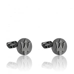 Boutons de manchette en acier & PVD gris JM418ANK10
