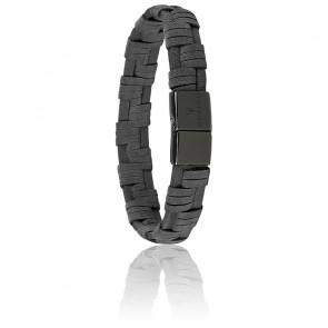 Bracelet en cuir et acier gris foncé JM218AMF06