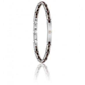 Bracelet en acier et céramique gris et marron JM220ASR05