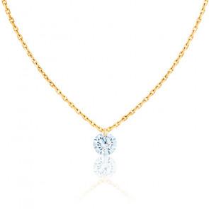 Collier Diamant Percé Brillant 0.10ct F/VS2 & Or Jaune 18K
