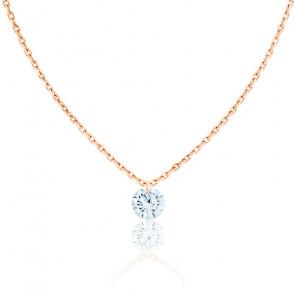 Collier Diamant Percé Brillant 0.10ct F/VS2 & Or Rose 18K
