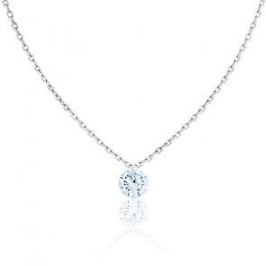 Collier Diamant Percé Brillant 0.10ct F/VS2 & Or Blanc 18K
