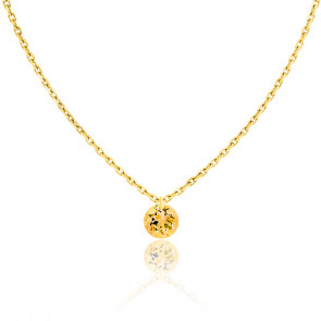 Collier Saphir Jaune percé 0,30 ct & Or jaune 18K