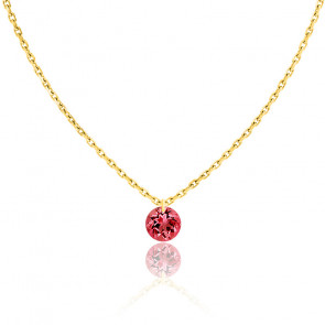 Collier Saphir Rouge percé 0,30 ct & Or jaune 18K
