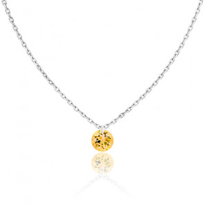 Collier Saphir Jaune percé 0,30 ct & Or Blanc 18K