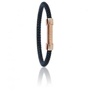 Bracelet en acier et tissu noir et bleu JM416AIK14