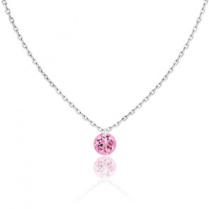 Collier Saphir Rose percé 0,30 ct & Or Blanc 18K