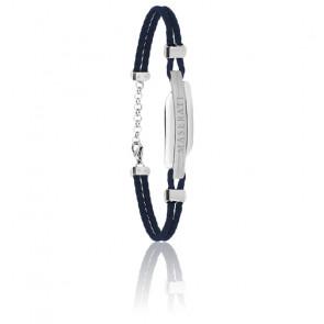 Bracelet en acier et cuir bleu JM417AKW06