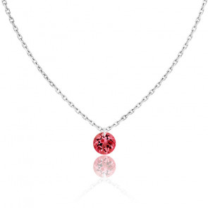 Collier Saphir Rouge percé 0,30 ct & Or Blanc 18K
