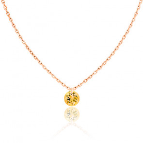 Collier Saphir Jaune percé 0,30 ct & Or Rose 18K