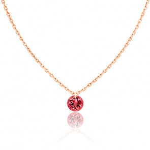 Collier Saphir Rouge percé 0,30 ct & Or Rose 18K