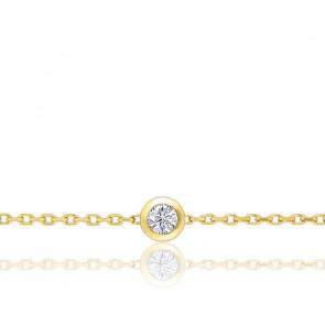Bracelet diamant serti clos, Or jaune 18K