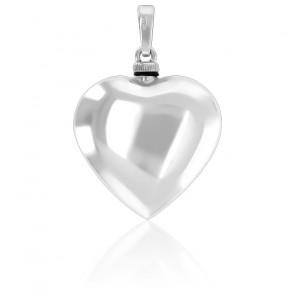 Pendentif porte-liquide cœur argent rhodié