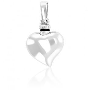 Pendentif porte-liquide cœur virgule argent rhodié