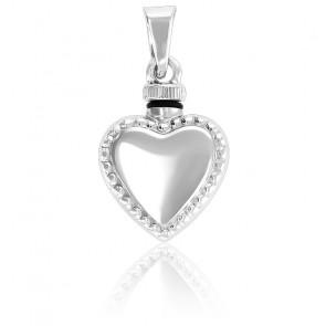 Pendentif porte-liquide cœur contour pointillés argent rhodié