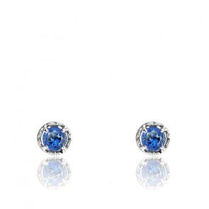 Boucles d'oreilles Or blanc & Topaze London Blue