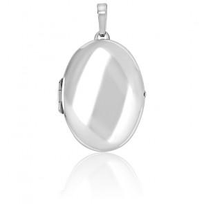 Grand pendentif porte photo ovale argent rhodié