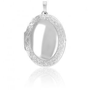 Grand pendentif porte photo contour arabesques argent rhodié
