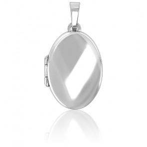 Pendentif porte photo ovale argent rhodié
