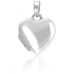 Pendentif porte photo cœur argent rhodié