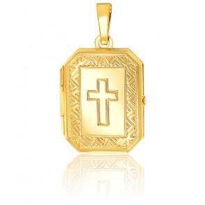Pendentif porte photo croix chrétienne motif triangle Or jaune 9K