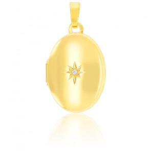 Pendentif porte photo étoile polaire Zircon et Or jaune 9K