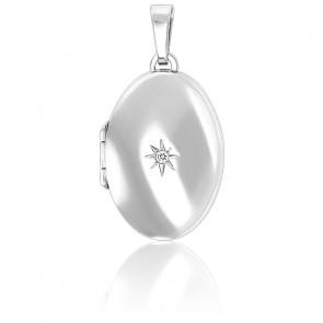 Pendentif porte photo étoile polaire Zircon et argent rhodié