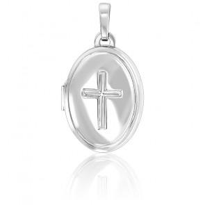 Pendentif porte photo croix chrétienne argent rhodié