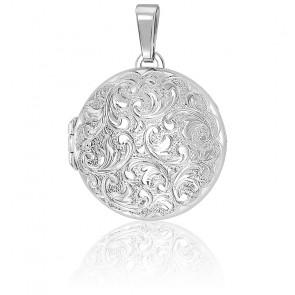Pendentif porte photo arabesques baroques argent rhodié