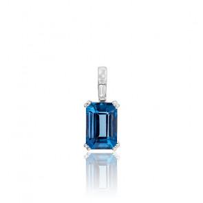 Pendentif Or blanc Diamant & Topaze London Blue