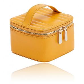 Boîte à Bijoux Voyage Zip Cube Cuir Jaune Maria