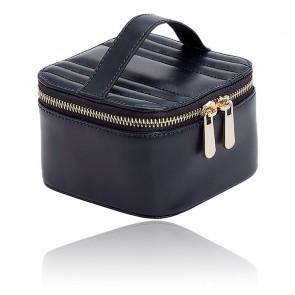 Boîte à Bijoux Voyage Zip Cube Cuir Bleu Maria
