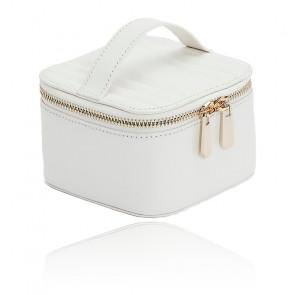 Boîte à Bijoux Voyage Zip Cube Cuir Blanc Maria
