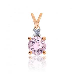 Pendentif Or rose Diamant & Morganite