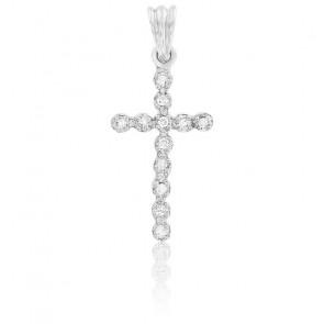 Pendentif Croix Or Blanc 18K & Diamants