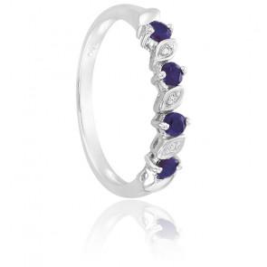 Bague Saphirs & Diamants Or Blanc 18K