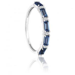 Bague Or blanc Topazes London Blue & Diamants