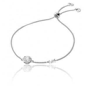 Bracelet coulissant MK zircons et argent rhodié
