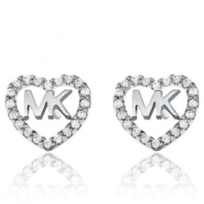 Boucles d'oreilles MK cœur argent rhodié et zircons