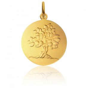 Médaille Arbre de Vie Feuillage Printanier Or Jaune 18K